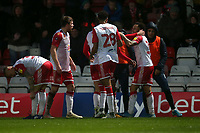Elliott List of Stevenage scores the first goal for his team and celebrates with his team mates during Stevenage vs Peterborough United, Emirates FA Cup Football at the Lamex Stadium on 9th November 2019