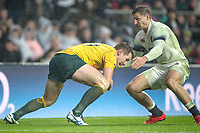Twickenham, Surrey. UK. Bernard FOLEY, collects the loose ball and turns to face  Jonny MAY, during the <br /> England VS Australia, Autumn International. Old Mutual Wealth Series. RFU Stadium, Twickenham. UK<br /> <br /> Saturday  18.11.17<br /> <br /> [Mandatory Credit Peter SPURRIER/Intersport Images]