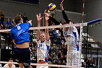 GRONINGEN - Volleybal, Lycurgus - Sliedrecht Sport, Eredivisie,  seizoen 2019-2020, 07-12-2019,  blok met Lycurgus speler Sander Scheper en Lycurgus speler Bennie Tuinstra