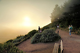 USA, California, San Francisco, family takes in the fog and sunset view, the Marin Headlands
