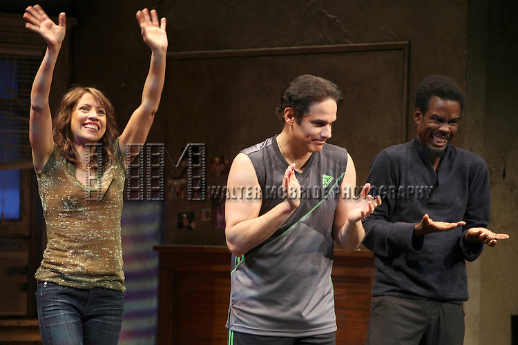 Elizabeth Rodriguez, Yul Vazquez & Chris Rock during The Broadway Opening Night Performance Curtain Call for 'The Mother F**ker with the Hat'  in New York City.