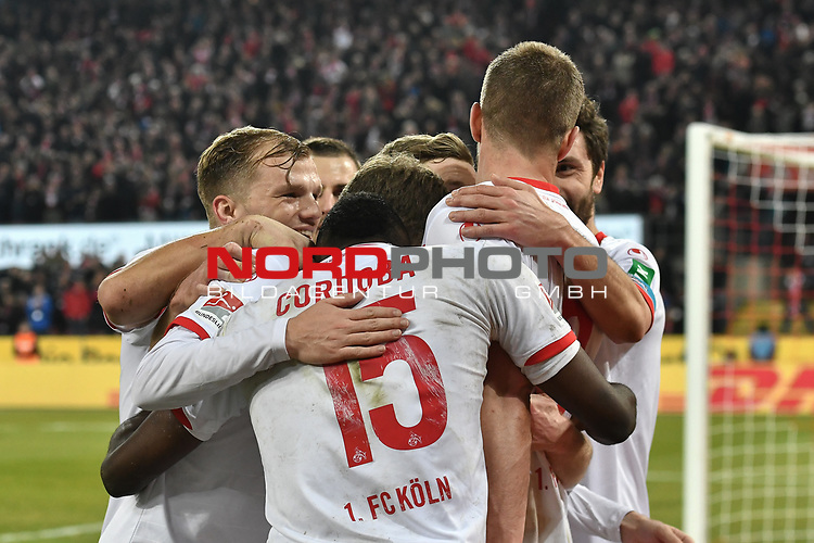 08.02.2019, Rheinenergiestadion, K&ouml;ln, GER, DFL, 2. BL, VfL 1. FC Koeln vs FC St. Pauli, DFL regulations prohibit any use of photographs as image sequences and/or quasi-video<br /> <br /> im Bild die Mannschaft von Koeln jubelt nach dem Tor zum 4:1 Torschuetze Simon Terodde (#9, 1.FC K&ouml;ln / Koeln)  <br /> <br /> Foto &copy; nph/Mauelshagen