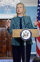 January 11, 2012  (Washington, DC)  U.S. Secretary of State Hillary Rodham Clinton speaks with the press at the State Department in Washington after a bilateral meeting with Qatari Foreign Minister Sheikh Hamad bin Jassim bin Jabor Al Than.  (Photo by Don Baxter/Media Images International)
