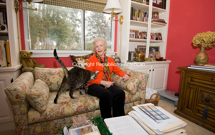 SOUTHBURY, CT-011118JS02---Francis Owen, a retiree who chose to move to Connecticut despite the high cost of living, site in her Heritage Village home with her cat Cristy. <br />  Jim Shannon Republican-American