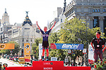 Points winner Emilie Moberg (NOR) Hitec Products on the podium at the end of the Madrid Challenge by La Vuelta 2017, ridden over 87km 15 laps on a 5.8km route around the iconic Plaza Cibeles, Madrid, Spain. 10th September 2017.<br /> Picture: Unipublic/&copy;photogomezsport | Cyclefile<br /> <br /> <br /> All photos usage must carry mandatory copyright credit (&copy; Cyclefile | Unipublic/&copy;photogomezsport)