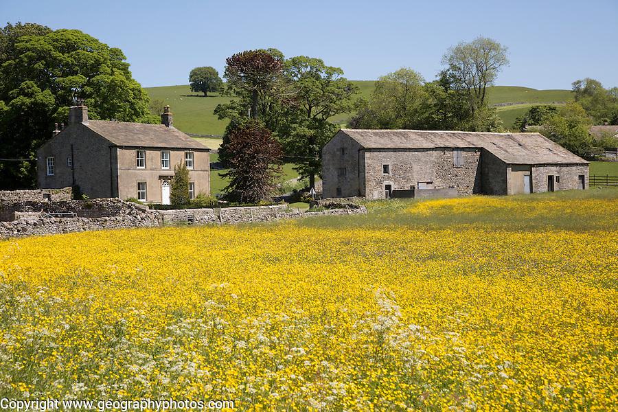 Traditional stone farmhouse, Winterburn, Yorkshire Dales national park, England, UK