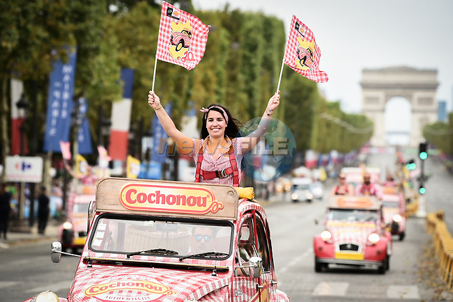 The publicity caravan on the Champs-Elysees during Stage 21 of the 2018 Tour de France running 116km from Houilles to Paris Champs-Elysees, France. 29th July 2018. <br /> Picture: ASO/Pauline Ballet | Cyclefile<br /> All photos usage must carry mandatory copyright credit (© Cyclefile | ASO/Pauline Ballet)