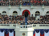 Washington, DC - January 20, 2009 -- United States President Barack Obama makes his Inaugural address to the nation after he was sworn-in as the 44th President of the United States on the west steps of the Capitol on Tuesday, January 20, 2009. .Credit: Pat Benic - Pool via CNP