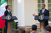 United States President Barack Obama and Prime Minister Matteo Renzi of Italy hold a joint press conference in the Rose Garden of the the White House in Washington, DC on Tuesday, October 18, 2016. <br /> Credit: Ron Sachs / CNP