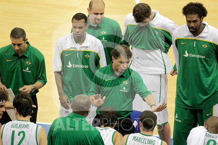 Brasil's coach Ruben Magnano during Friendly match.August, 15, 2010. (ALTERPHOTOS/Acero)