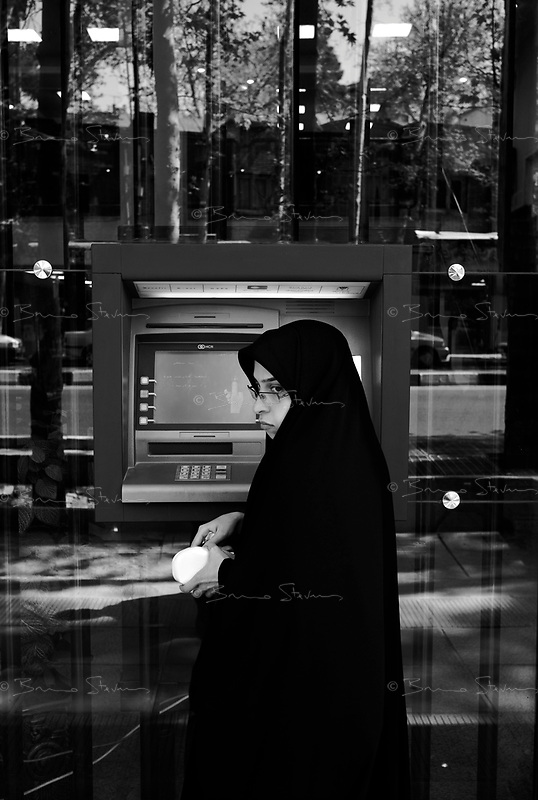Teheran, Iran, April 22, 2007.An ATM machine near Tajrish square on Valyasr avenue..