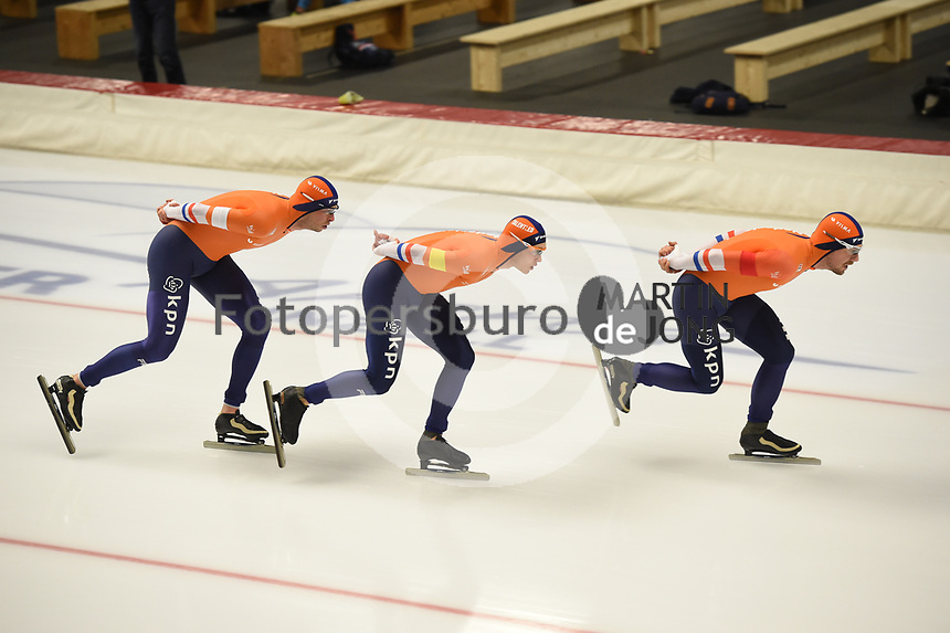 SPEEDSKATING: INZELL: Max Aicher Arena, 08-02-2019, ISU World Single Distances Speed Skating Championships, Team Pursuit Men, Marcel Bosker, Douwe de Vries, Sven Kramer, The Netherlands, ©photo Martin de Jong