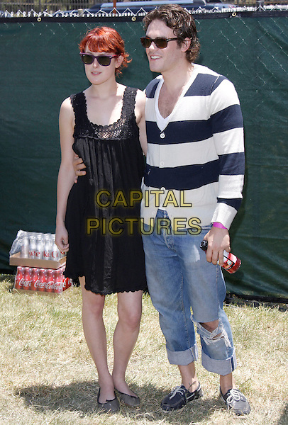 """RUMER WILLIS & MICAH ALBERTI.The 20th annual """"A Time for Heroes"""" Celebrity Carnival benefiting Elizabeth Glaser Pediatric AIDS Foundation held at Wadsworth Theater on the Veteran Administration Lawn in West Los Angeles, California, USA. .June 7th, 2009.full length dress couple jeans denim sunglasses shades black striped stripes blue white cardigan.CAP/DVS                                                  .©Debbie VanStory/Capital Pictures."""