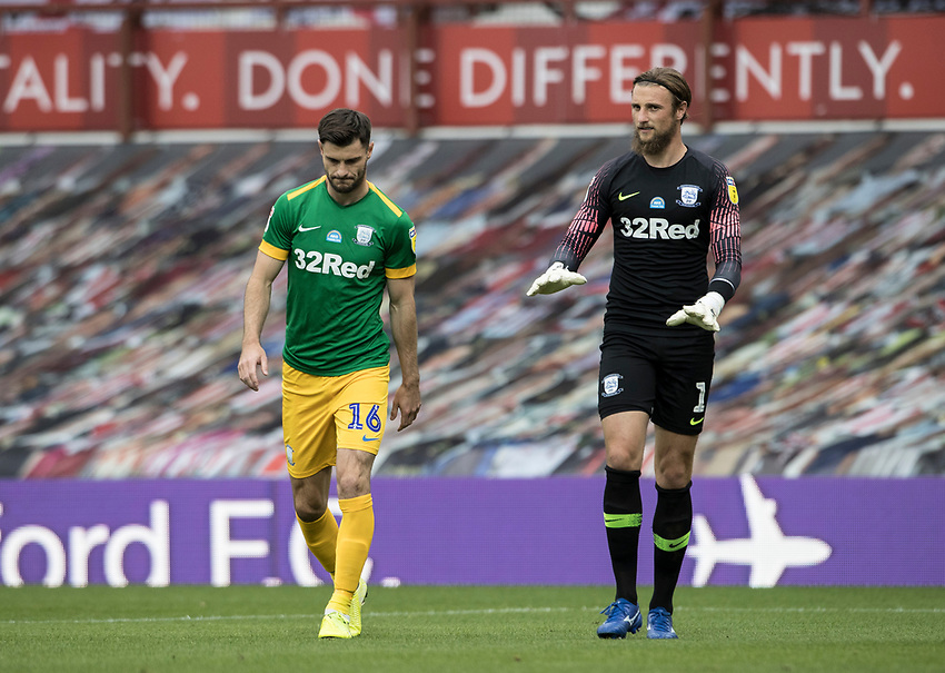 Preston North End's Andrew Hughes and Declan Rudd enter the pitch <br /> <br /> Photographer Andrew Kearns/CameraSport<br /> <br /> The EFL Sky Bet Championship - Brentford v Preston North End - Wednesday 15th July 2020 - Griffin Park - Brentford <br /> <br /> World Copyright © 2020 CameraSport. All rights reserved. 43 Linden Ave. Countesthorpe. Leicester. England. LE8 5PG - Tel: +44 (0) 116 277 4147 - admin@camerasport.com - www.camerasport.com