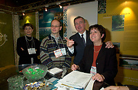 Montreal, march 28 , 2001 File Photo<br />  Montreal Mayor ;Pierre Bourque visit the Eco-Montreal booth , after  the opening of Americana 2001 conference and trade show on environmental technologies and waste management march 28, 2001 in Montreal, CANADA.<br /> <br /> Bourque is currentlyrunning for reelection against former Quebec Minister Gerald Tremblay<br /> <br /> Photo by Pierre Roussel / Alpha-Presse<br /> NOTE :  D-1 Uncorrected JPEG opened with QUIMAGE profile, saved in Adobe 1998 RGB color spaceMontreal (Qc) CANADA - File Photo -