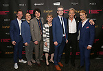 Stephen Carrasco, Joshua Harmon, Eli Gelb, Cynthia Mace, Daniel Aukin, Jack Wetherall and Will Brittain during the Off-Broadway Opening Night photo call for the Roundabout Theatre Production of 'Skintight at the Laura Pels Theatre on June 21, 2018 in New York City.