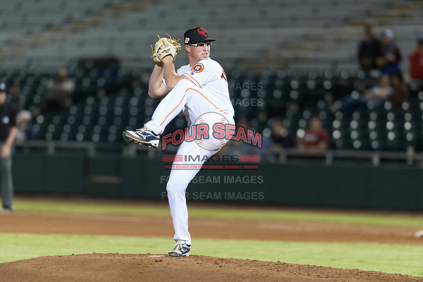 Scottsdale Scorpions relief pitcher Trent Thornton (21), of the Houston Astros organization, delivers a pitch during an Arizona Fall League game against the Surprise Saguaros at Scottsdale Stadium on October 15, 2018 in Scottsdale, Arizona. Surprise defeated Scottsdale by a score of 2-0. (Zachary Lucy/Four Seam Images)