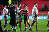Players shake hands after the match. European Rugby Challenge Cup match, between Bristol Rugby and Bath Rugby on January 13, 2017 at Ashton Gate Stadium in Bristol, England. Photo by: Patrick Khachfe / Onside Images