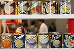 Apr. 8, 2010 - Tokyo, Japan - Food cans are on display during the Dessert Sweet & Drink Festival 2010 at Tokyo Big Sight, on April 8, 2010. Organized by the Japan Food Journal and the All Japan Confectionery Association, the event will run April 8-9 and 65,000 trade professionals are expected to attend.