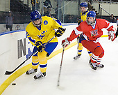 Calle J?rnkrok (Sweden - 25), Oldrich Horak (Czech Republic - 4) - Sweden defeated the Czech Republic 4-2 at the Urban Plains Center in Fargo, North Dakota, on Saturday, April 18, 2009, in their final match of the 2009 World Under 18 Championship.