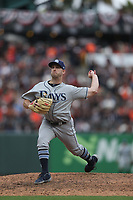 SAN FRANCISCO, CA - APRIL 5:  Adam Kolarek #56 of the Tampa Bay Rays pitches against the San Francisco Giants during the game at Oracle Park on Friday, April 5, 2019 in San Francisco, California. (Photo by Brad Mangin)
