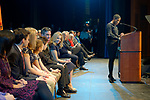Hempstead, New York, USA. January 1, 2018. At podium, Nassau County Legislator SIELA A. BYNOE delivers Welcome to Swearing-In of LAURA GILLEN as Hempstead Town Supervisor, and SYLVIA CABANA as Hempstead Town Clerk, at Hofstra University. Gillen and Cabana sat with their families in front row at left.
