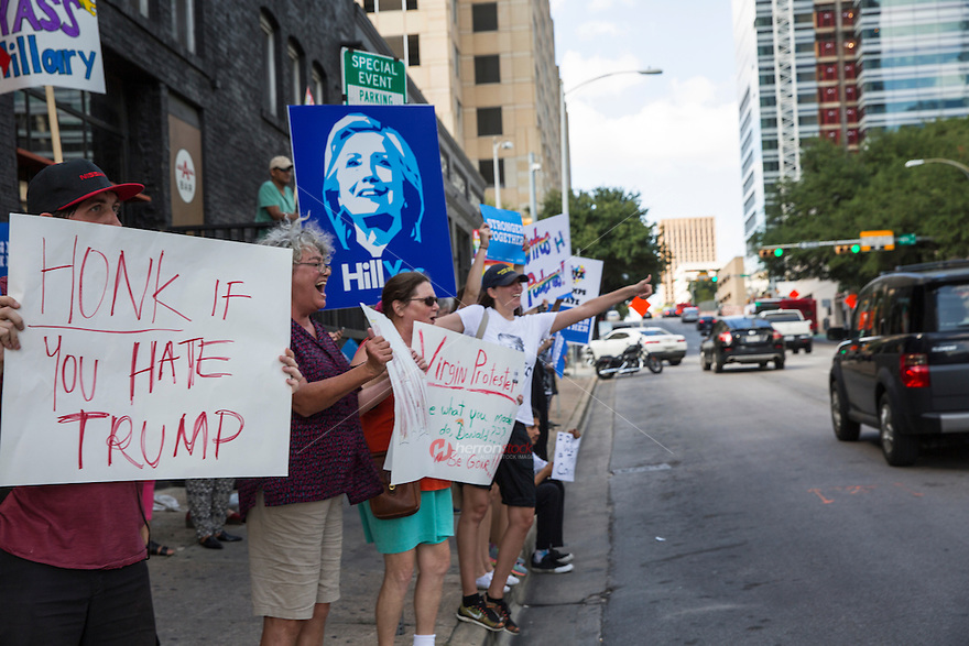 Austin, Texas - Tues., August 23, 2016 - Protesters line up Lavaca Street in downtown Austin holding up signs to protest the visit of Republican presidential candidate Donald Trump.<br /> <br /> Use of this image in advertising or for promotional purposes is prohibited.<br /> <br /> Editorial Credit: Dan Herron / Herronstock Editorial.