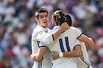 Alvaro Borja Morata of Real Madrid celebrates with the teammates during the La Liga match between Real Madrid and Osasuna at the Santiago Bernabeu Stadium on 10 September 2016 in Madrid, Spain. Photo by Diego Gonzalez Souto / Power Sport Images