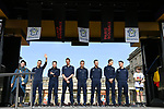 Quick-Step Floors team on stage at the team presentation before the 116th edition of Paris-Roubaix 2018. 7th April 2018.<br /> Picture: ASO/Pauline Ballet | Cyclefile<br /> <br /> <br /> All photos usage must carry mandatory copyright credit (&copy; Cyclefile | ASO/Pauline Ballet)