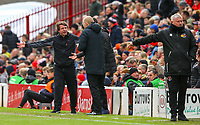Barnsley manager Daniel Stendel remonstrates with the fourth official<br /> <br /> Photographer Alex Dodd/CameraSport<br /> <br /> The EFL Sky Bet League One - Barnsley v Blackpool - Saturday 27th April 2019 - Oakwell - Barnsley<br /> <br /> World Copyright © 2019 CameraSport. All rights reserved. 43 Linden Ave. Countesthorpe. Leicester. England. LE8 5PG - Tel: +44 (0) 116 277 4147 - admin@camerasport.com - www.camerasport.com