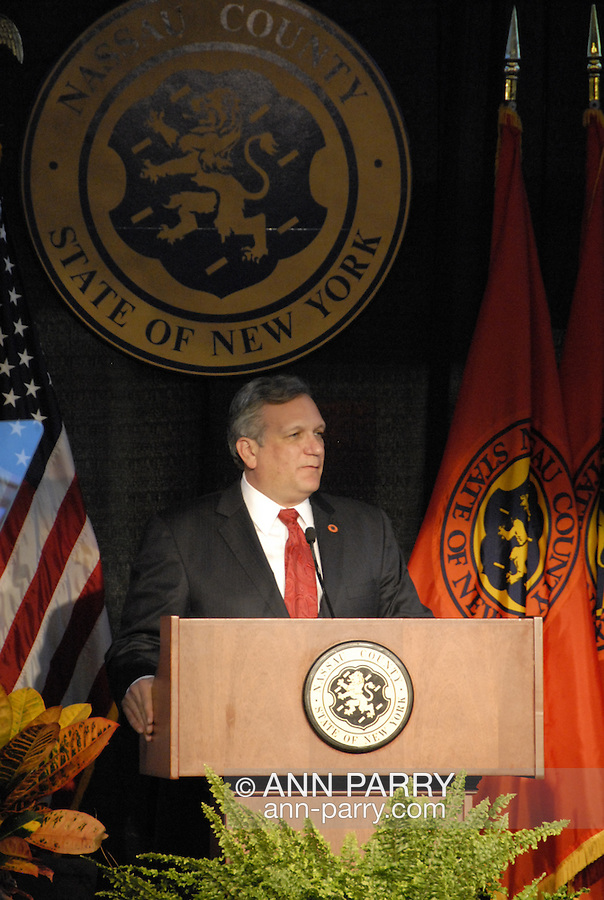 Nassau County Executive Edward Mangano gives State of the County Address, on Wednesday night, March 14, 2012, at Cradle of Aviation museum, Garden City, New York, USA. During the well-attended Nassau County Legislature meeting, County accomplishments and goals were given.