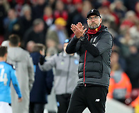 27th November 2019; Anfield, Liverpool, Merseyside, England; UEFA Champions League Football, Liverpool versus SSC Napoli ; Liverpool manager Jurgen Klopp returns the applause from the supporters on the Kop after the final whistle - Editorial Use