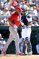 Detroit Tigers catcher Alex Avila (13) jokes with former teammate Jhonny Peralta (27) after a home run during a spring training game against the St. Louis Cardinals on March 3, 2014 at Joker Marchant Stadium in Lakeland, Florida.  Detroit defeated St. Louis 8-5.  (Mike Janes/Four Seam Images)
