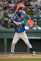 Left fielder Brewer Hicklen (16) of the Lexington Legends at bat during a game against the Greenville Drive on Sunday, September 2, 2018, at Fluor Field at the West End in Greenville, South Carolina. Greenville won, 7-4. (Tom Priddy/Four Seam Images)