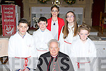 ..Pupils from Douglas NS who were confirmed by Bishop Bill Murphy in St James Church, Killorglin on Friday front row l-r: David Purcell, James Hurley, Kay Divane (teacher), Lauren Austridge, Geraldine Moriarty..