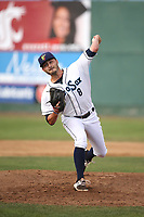Lane Ratliff (8) of the Everett AquaSox pitches against the Boise Hawks at Everett Memorial Stadium on July 20, 2017 in Everett, Washington. Everett defeated Boise, 13-11. (Larry Goren/Four Seam Images)