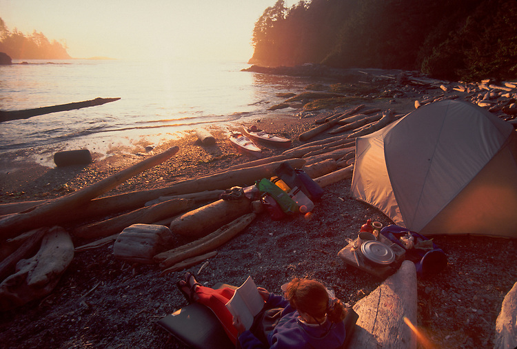 Sea kayaker's campsite, Barkley Sound, Pacific Rim National Park, west coast of Vancouver Island, British Columbia, Canada,