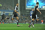 Riyad Mahrez of Leicester City celebrates scoring his goal to make it 2-1<br /> - Barclays Premier League - Everton vs Leicester City - Goodison Park - Liverpool - England - 19th December 2015 - Pic Robin Parker/Sportimage