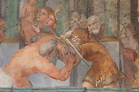 The Education of Achilles, showing the centaur Chiron instructing Achilles in sword fighting, fresco by Rosso Fiorentino, 1535-37, in the Galerie Francois I, begun 1528, the first great gallery in France and the origination of the Renaissance style in France, Chateau de Fontainebleau, France. The Palace of Fontainebleau is one of the largest French royal palaces and was begun in the early 16th century for Francois I. It was listed as a UNESCO World Heritage Site in 1981. Picture by Manuel Cohen