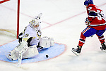 6 February 2010: Pittsburgh Penguins' goaltender Marc-Andre Fleury makes a third period save on center Brock Trotter (59) of the Montreal Canadiens at the Bell Centre in Montreal, Quebec, Canada. The Canadiens defeated the Penguins 5-3. Mandatory Credit: Ed Wolfstein Photo