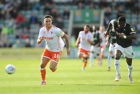 Blackpool's John O'Sullivan under pressure from Plymouth Argyle's Yann Songo'o<br /> <br /> Photographer Kevin Barnes/CameraSport<br /> <br /> The EFL Sky Bet League One - Plymouth Argyle v Blackpool - Saturday 15th September 2018 - Home Park - Plymouth<br /> <br /> World Copyright &copy; 2018 CameraSport. All rights reserved. 43 Linden Ave. Countesthorpe. Leicester. England. LE8 5PG - Tel: +44 (0) 116 277 4147 - admin@camerasport.com - www.camerasport.com