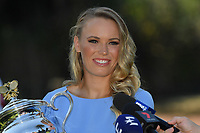 January 28, 2018: The 2018 Australian Open Women's Champion Caroline Wozniacki of Denmark speaks to the media at the Botanical Gardens in Melbourne, Australia. Photo Sydney Low