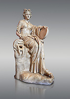 2nd century AD Roman statue of the muse of comedy, Thalia, with a tympanum and a comic mask. A Roman copy of a 4th century BCHellenistic statue, inv 295, Vatican Museum Rome, Italy,  grey background