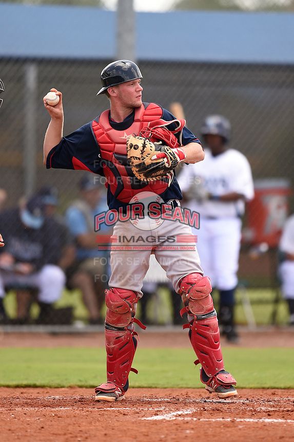GCL Red Sox catcher Simon Gravel (15) during a game against the GCL Rays on June 24, 2014 at Charlotte Sports Park in Port Charlotte, Florida.  GCL Red Sox defeated the GCL Rays 5-3.  (Mike Janes/Four Seam Images)