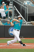 University of Coastal Carolina Chanticleers outfielder Conner Owings (6) at bat during a game against the University of Virginia Cavaliers at Springs Brooks Stadium on February 21, 2016 in Conway, South Carolina. Coastal Carolina defeated Virginia 5-4. (Robert Gurganus/Four Seam Images)