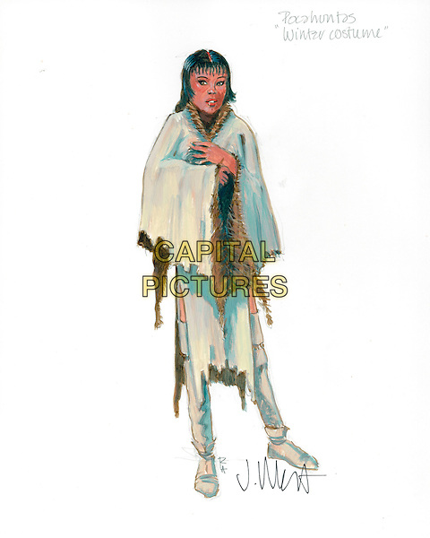 "A watercolor sketch of Pocahontas' ""winter costume"" by Costume Designer Jacqueline West..in The New World.Filmstill - Editorial Use Only.CAP/AWFF.www.capitalpictures.com.sales@capitalpictures.com.Supplied By Capital Pictures."