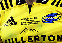 Beauden Barrett's embroidered 100th game jersey during the Super Rugby match between the Hurricanes and Crusaders at Westpac Stadium in Wellington, New Zealand on Saturday, 10 March 2018. Photo: Dave Lintott / lintottphoto.co.nz