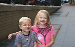 """Lucy Merriam """"Emma"""" and brother Joseph outside the All My Children Studios, New York City, New York. (Photo by Sue Coflin/Max Photos)"""
