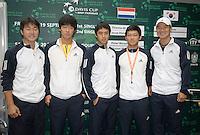 18-9-08, Netherlands, Apeldoorn, Tennis, Daviscup NL-Zuid Korea, Draw in cityhall,  Team South Korea