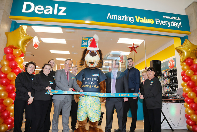 Store Manager John Fowley and Dougie at the opening of the Dealz new store in Mullingar Co West Meath.<br /> <br /> Picture Newsfile/Professional Images